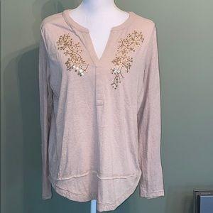 Anthropologie long sleeve embellished tee shirt